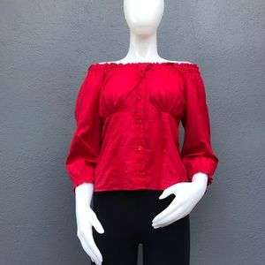 DKNY Jeans Off the Shoulder Red Blouse Size 4